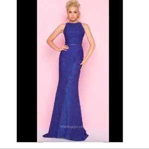 Mac Duggal 62691 Sapphire Navy Blue Lace